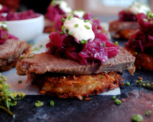 St. Patrick's Day Potato Cakes with Corned Beef & Cabbage