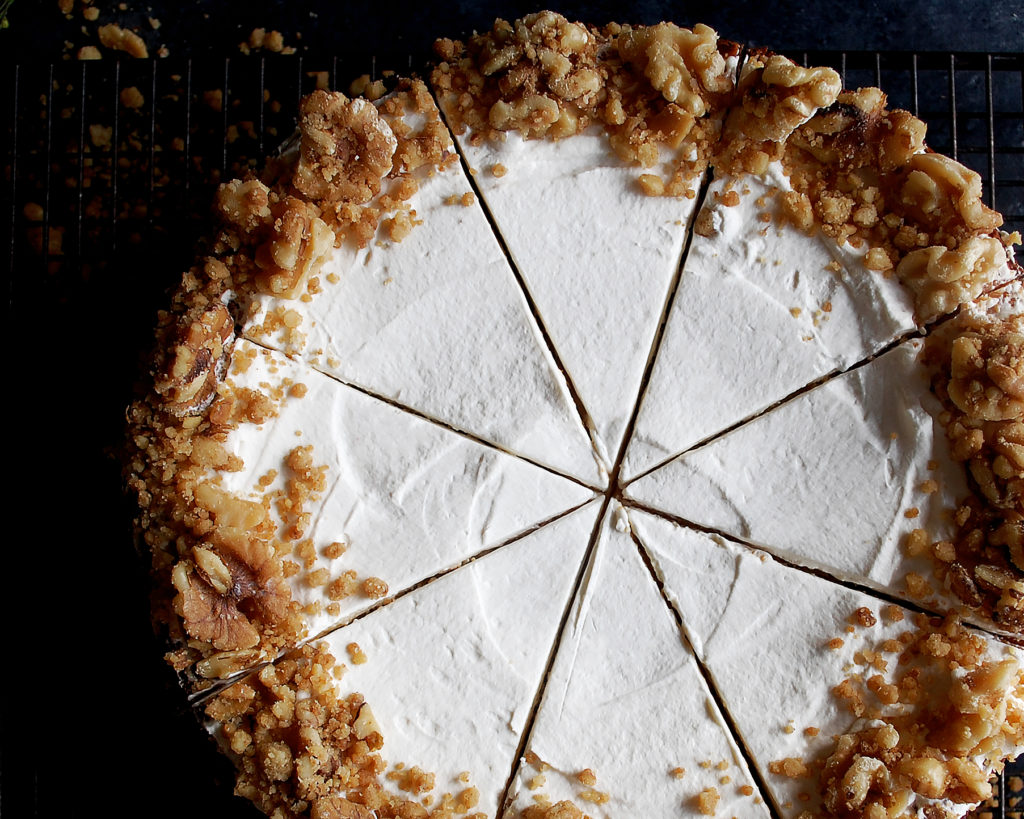 St. Patrick's Day Irish Cream Cheesecake with Walnut Streusel