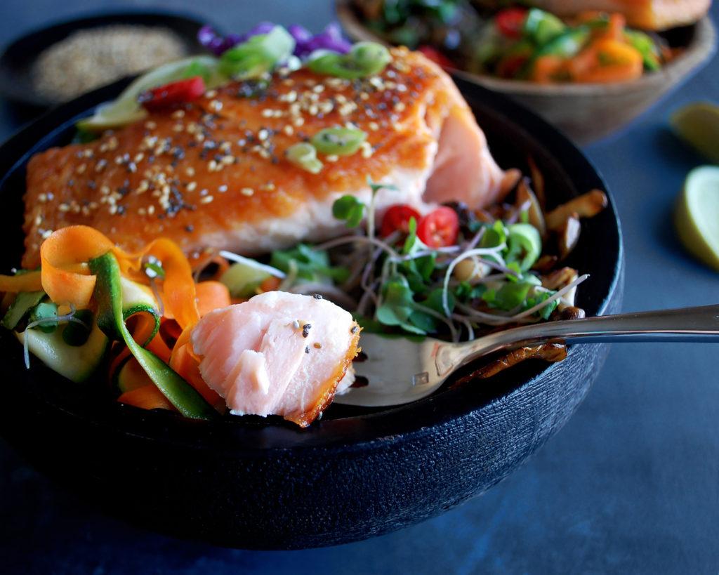 Salmon Soba Noodle Bowl with Tahini Lime Sauce