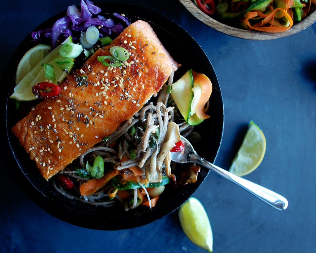 Salmon Soba Noodle Bowl with Tahini Lime Sauce