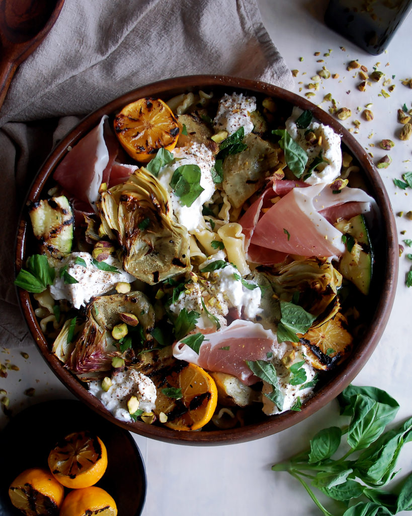 Artichoke & Burrata Pasta Salad with Charred Meyer Lemon Vinaigrette