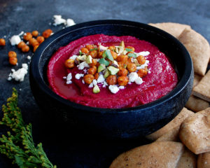 Roasted Beet Hummus with Homemade Pita Chips