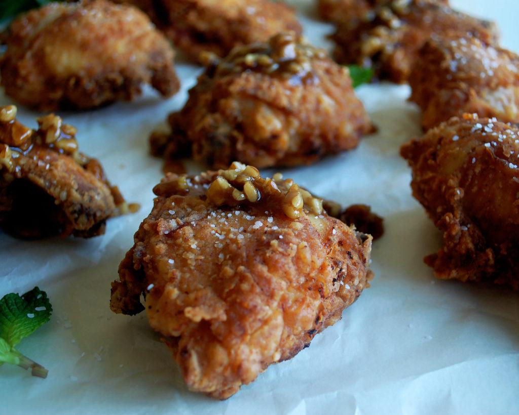 Spicy Buttermilk Fried Chicken with Bourbon Pecan Glaze