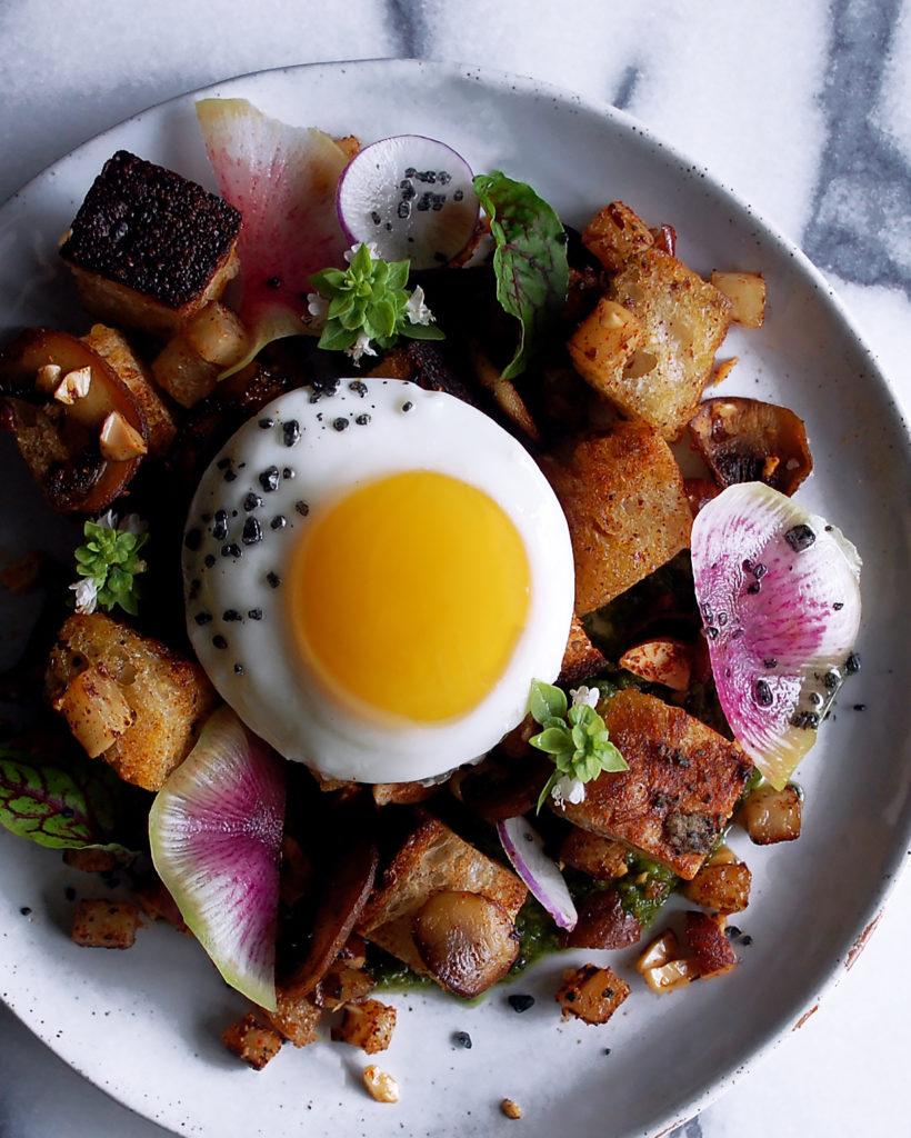 Harissa Kohlrabi Panzanella with Fried Eggs