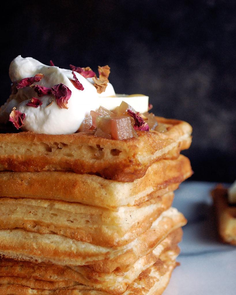 Waffles with Rhubarb