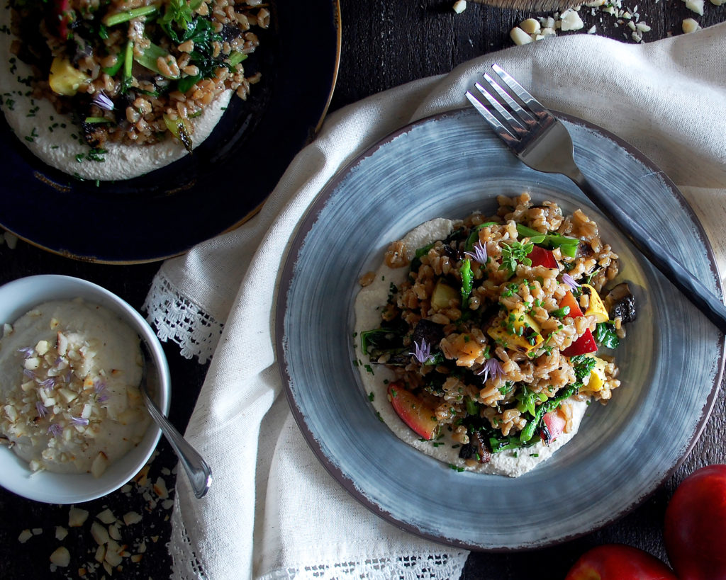 Farro Salad with Goat Cheese Macadamia Butter