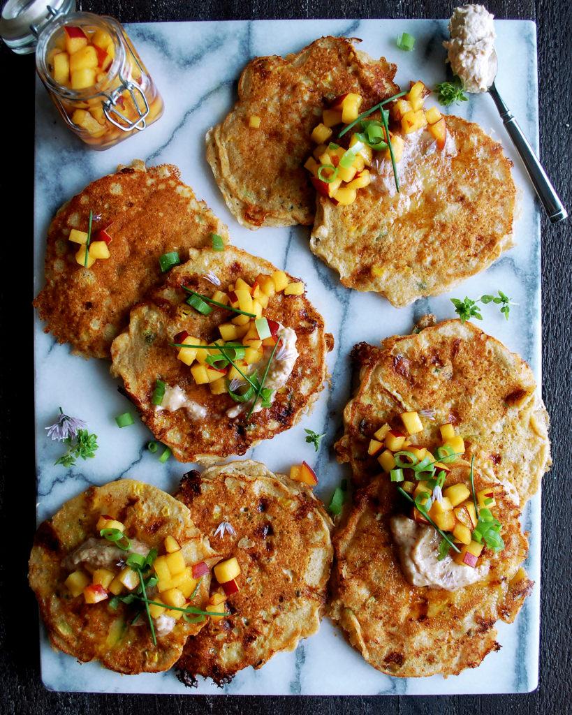 Cornmeal Pancakes with Peach Honey Syrup