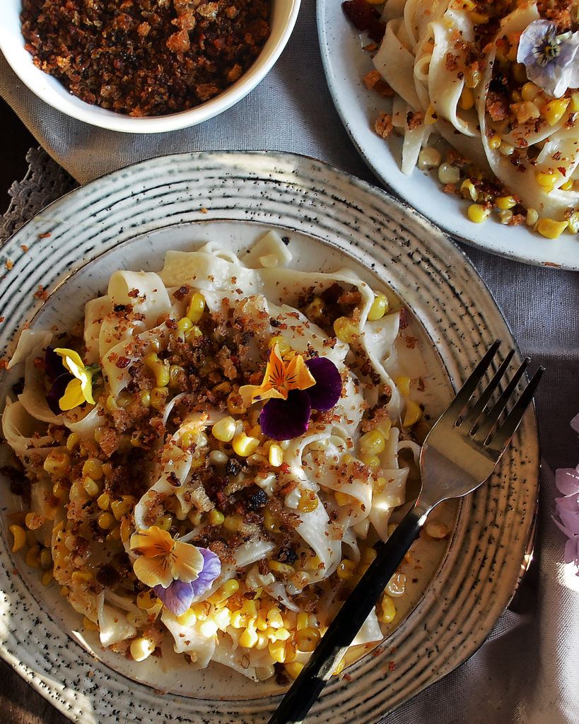 Smoked Corn Pasta with Bacon Breadcrumbs